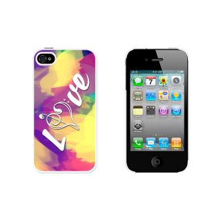 Music Heart Love Treble Bass Clef Tie Dye Case for Apple iPhone 4 4S White