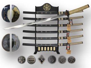 "41"" Japanese Generals Katana Sword Set Iron Tsuba with Stand 6 Pcs Set"
