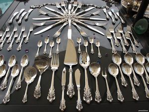73P Old Wallace Grand Baroque Sterling Silver Flatware Set RARE Servers Heavy XL