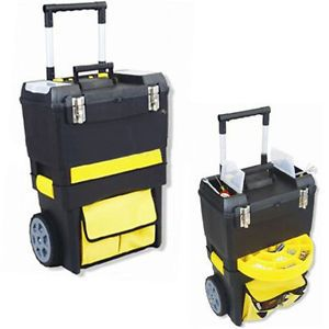 """18"""" Mobile Work Shop 2 in 1 Tool Box Chest Trolley Storage Organizer New"""