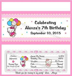 Printable Custom Hello Kitty Birthday Party Favor Gift Candy Bar Wrapper Labels