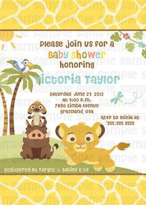 Lion King Simba Personalized Custom Baby Shower Digital Invitation Printable