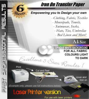 Laser OW 6 Sheets Blank T Shirt Iron on Heat Transfer Printer Paper Dark Fabric