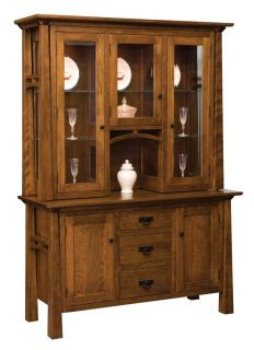 Amish Dining Room Hutch Buffet Server China Cabinet Solid Wood Arts Crafts