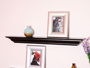 "36"" Black Crown Molding Wall Floating Shelf Ledge Fireplace Shelving"