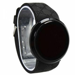 Men Touch Screen Circ Pattern Day and Date Silicone Sport LED Wrist Watch Black