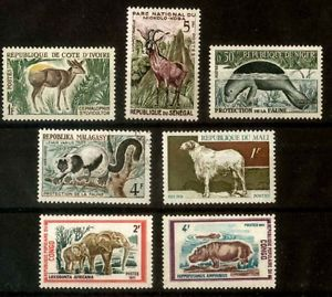 African Fauna of National Parks 7 Stamps MNH Niger Malgasa Congo Senegal