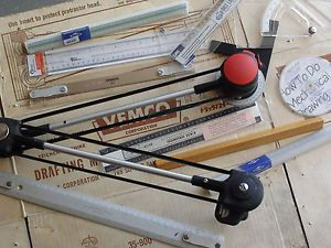 """Used 18"""" Vemco Drafting Machine Triangular Scales Adjustable Trianggle"""