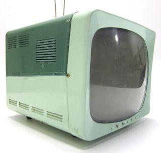 1950s Vtg Mid Century Mod Two Tone Granada Green Admiral Portable TV Television