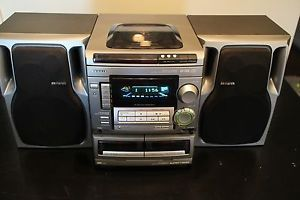 Aiwa 3 Disk CD Compact Disc Shelf Stereo System Radio CX NA508 Tape Am FM