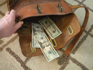 Antique Vtg Leather Bank Mail Bag Security Canvas Products Roaring 20's Gangster