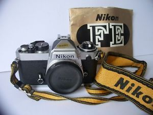 Vintage Nikon FE 35mm SLR Camera Body Nikon Strap Instruction Manual