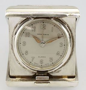 Vintage Tiffany Co Sterling Silver Case 8 Day Travel Alarm Clock