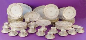 Fabulous Antique Limoges Roses Gold China Dinnerware Set Service Great Servers
