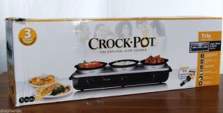 Rival Three Crock Pot Trio SCRBC909 BS Slow Cooker Warmer Buffet Server 3qt