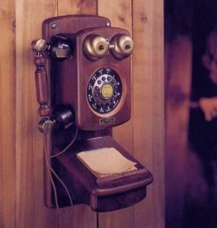 Golden Eagle Mahogany Country Wooden Wood Crank Wall Telephone Phone Antique New 028466287056