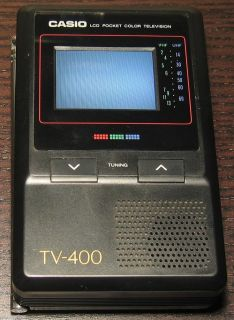 Vintage Casio TV 400 LCD Pocket Color TV Television with Converter