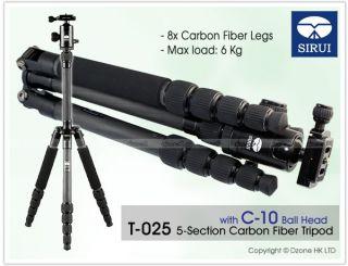 Sirui T025X 5 Section Carbon Fiber Tripod with C 10 Ball Head Camer Flash T300