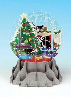 Holiday Cats Snowglobe Pop Up Christmas Card Greeting Card by Up with Paper
