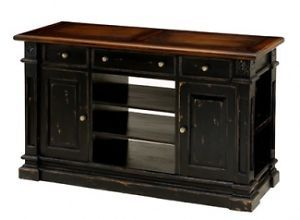 Plasma TV Stand Cabinet Mahogany Wood Painted Distressed Black