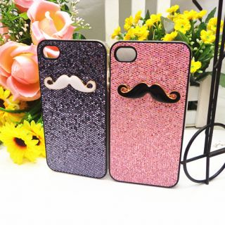 2pcs Glister Leon Chaplin Sexy Mustache Case Cover for iPhone 4 4S Couple Lovers