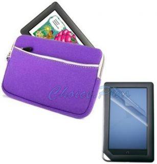 Barnes Noble Nook Color Purple Zip Case LCD Protector