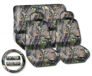 Camouflage Car Seat Covers Mossy Forest Camo Front Rear Bench Steering Wheel