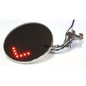 """4"""" Peep Mirrors with LED Turn Signal for Hot Rods"""