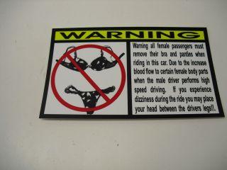 Funny Bra Panties Warning Decal Car Part Vinyl Police