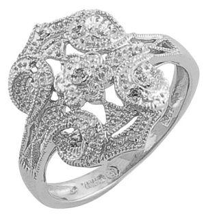Fremada Vintage Look Silver .03 Carat Diamond Ring