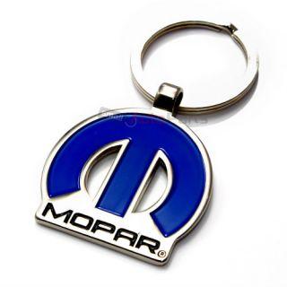 Mopar Logo Blue Chrome Metal Key Chain for Dodge Chrysler Jeep Fans
