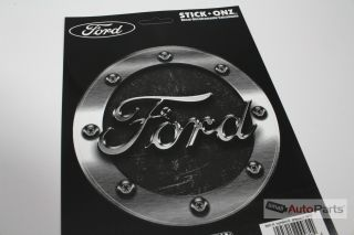 Ford Gas Tank Cap Round Vinyl Machined Chrome Look Logo Decal Sticker