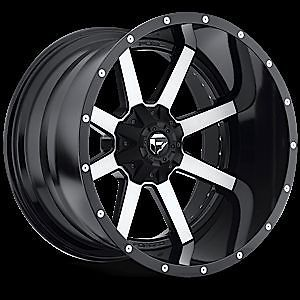 "20"" Fuel Offroad 2 PC Maverick Black Machined Rim Truck Wheels Falken Tires"