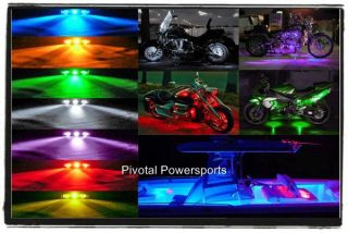 Black Motorcycle Remote Control LED Light Kit Package