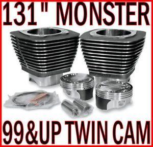"Revolution Performance Black 131"" Engine Monster Big Bore Kit Harley Twin Cam"
