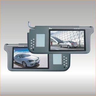 """TView T93SVGR Gray 9"""" Pair Car Sun Visor Monitors LCD Screen w Speakers Mirror"""