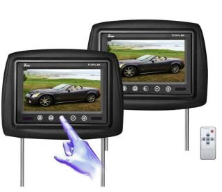 "Pair of TView T721PL Universal 7"" Black Car Video Headrest TFT LCD Monitors"