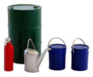 1 24 Scale Model Diorama Fire Extinguisher 55 Gallon Drum Water Can Pails