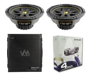 "2 Kicker 10C104 Comp 10"" 600 Watt 4 Ohm Car Subwoofers Combo Amplifier Amp Kit"