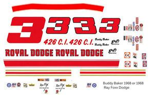 3 Buddy Baker Royal Dodge 1968 69 Ray Fox 1 43rd Scale Slot Car Decals