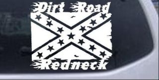 Dirt Road Redneck Rebel Flag Car or Truck Window Decal Sticker White 6in x 5in