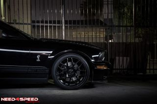 """20"""" Ford Mustang Concave Matte Black Staggered Wheels Rims"""