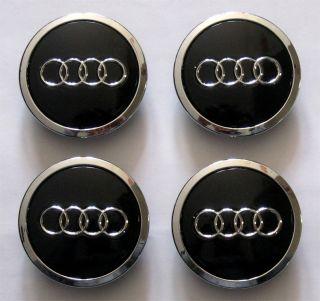 4 Pcs New Audi Wheel Center Cap Caps 68mm Black Chrome for Audi A3 A4 A6 A8 Etc