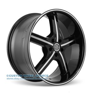 "22"" U2 55 Black Machine Rims Chrysler Chevrolet Dodge Ford Wheels"