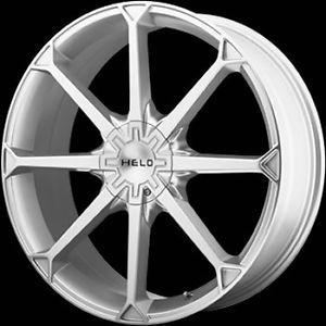 "4 New 22x8 5"" Helo 870 Silver Wheels Tires Rims 22 Cadillac Honda LS Jag Tbird"