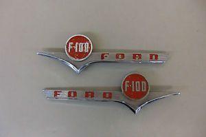 Vtg 1956 Ford Truck F 100 F100 Pickup Truck Hood Emblems Nice Orig Pair 53 54 55