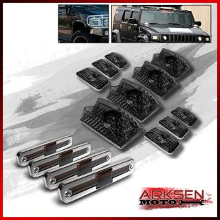 Smoked 03 09 Hummer H2 10 Pieces Roof Head Lights Side Marker Lamp Covers Set
