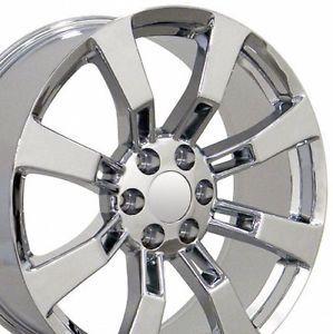 "Set of 4 22"" Cadillac Escalade Replica Chrome Alloy Wheels Rims 22x9 Chevy New"