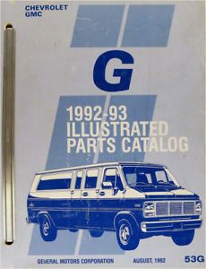 1993 Chevrolet GMC G Van Parts Book Catalog Beauville Rally Vandura Chevy 93