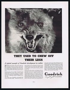 1937 BF Goodrich Wild Game Animal Traps Trap Jaw Rubber Print Ad